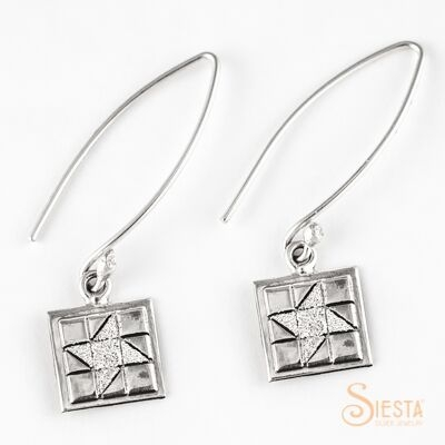 Friendship Star sterling silver earrings on long wire from Siesta Silver Jewelry. Available at QuiltedJoy.com
