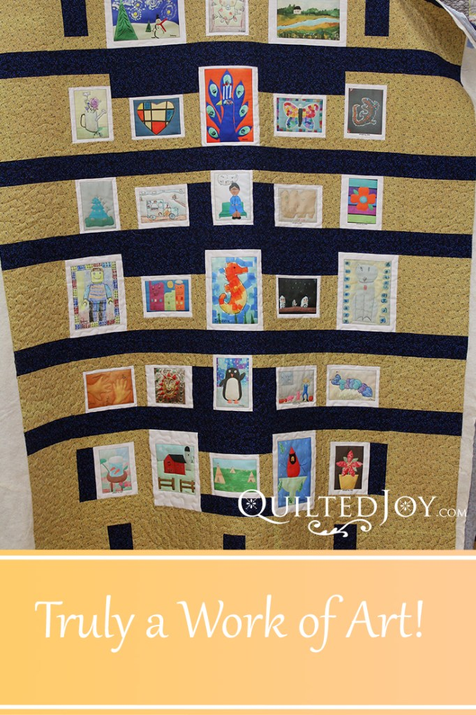 """This work of art is made up of artwork printed on fabric """"blocks"""" which were made into a top. See how Angela quilted it to bring out the art!"""