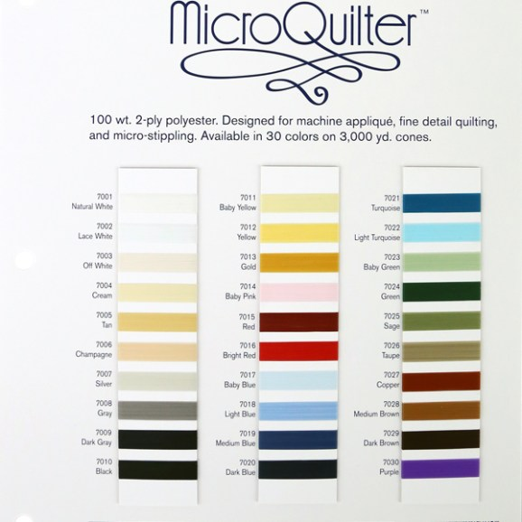 MicroQuilter color card 100 weight polyester thread