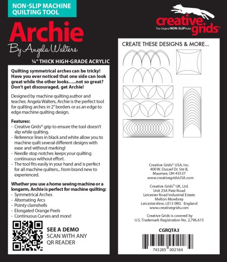 Use the Archie Machine Quilting Ruler to quilt perfectly symmetrical arches on your sit down or stand up quilting machine. Designed by Angela Walters.
