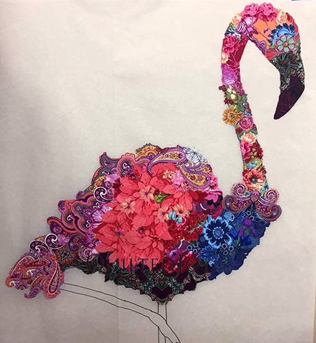 Laura Heine Pinkerton the Flamingo Fabric Collage