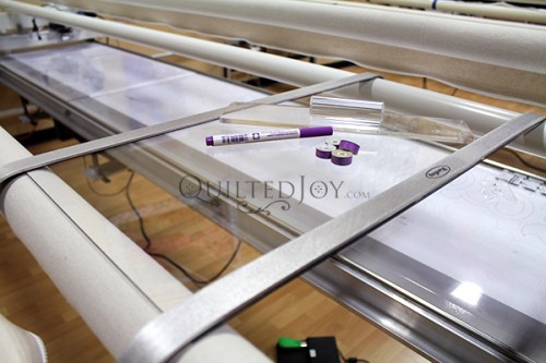 Keep your favorite markers, rulers, and tools within reach with the Hartley Work Table! These tables are designed to fit snuggly over the roller bars of your APQS Millie or Freddie.