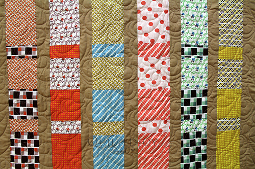 Linda asked me to quilt this sweet Bars & Strips quilt. She asked for a traditional yet playful quilting design and I found a nice mix of the two.