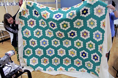 Marie's vintage Grandmother's Flower Garden Quilt