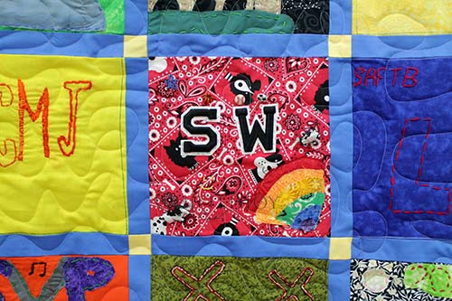 S W patches on the block of a memorial quilt