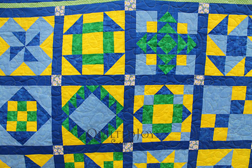 Judy's Blue and Yellow Sampler Quilt. She rented time on a longarm machine at Quilted Joy to quilt her quilt