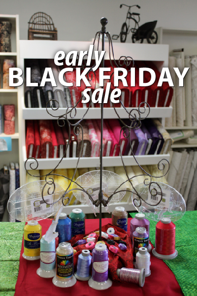 Thread and Fabric under the Christmas Tree at Quilted Joy for the Early Black Friday Sale