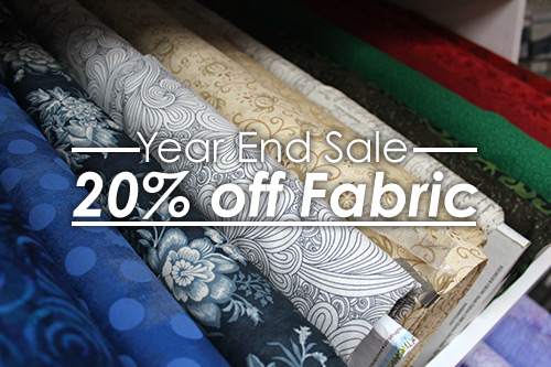 Year End Sale, 20% Off Fabric at Quilted Joy, Dec. 28, 2018-Jan. 1, 2019 only