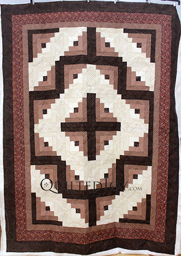 Chocolate Vanilla Swirl Log Cabin Quilt