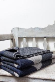 3-D Tumbling Block design woollen knitted blanket 100% British Made