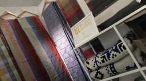 Folklore fabric lengths on display at Top Drawer-Craft17