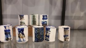 abstract art ceramic containers