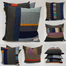 Harris Tweed patchwork cushions-every one unique