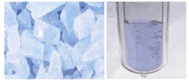 Oxígeno en estado sólido y líquido