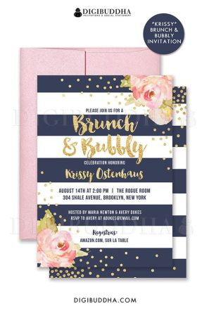pink navy invitation