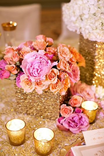 pink orange centerpieces