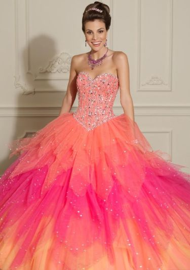 pink orange quinceanera dress