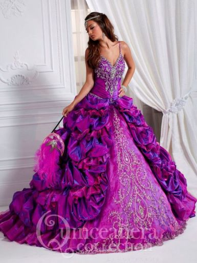 pink purple quinceanera dress