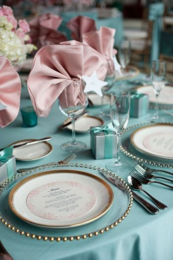 tiffany blue pink table