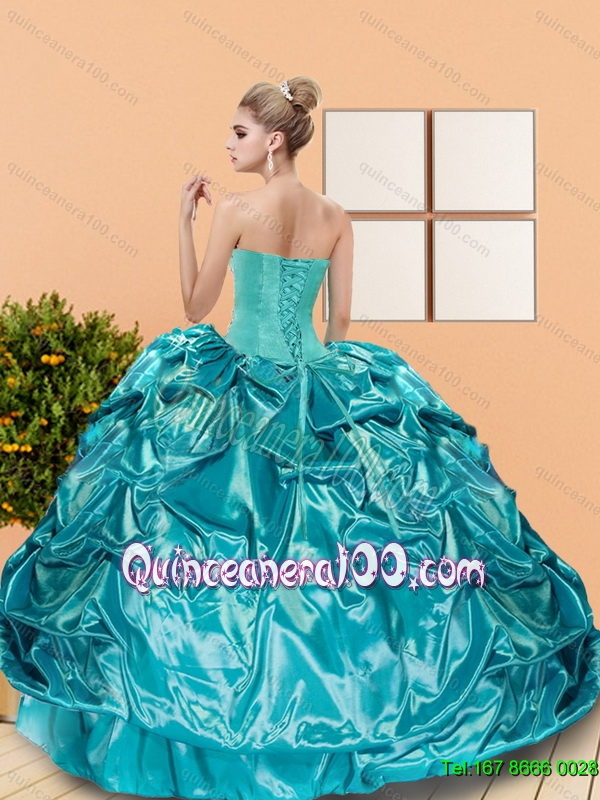 2015 Classical Sweetheart Teal Sweet 16 Dresses with