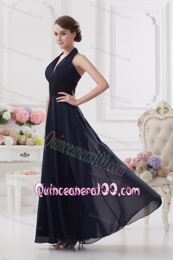 Navy Blue Halter top Long Dresses for Dama with Ruching