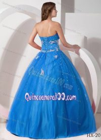 Beaded Appliqued Aqua Blue Quinceanera Party Dress for