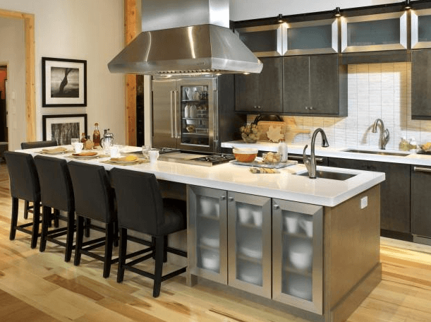 kitchen island with sink and stove top-kitchen island design ideas-quinju.com