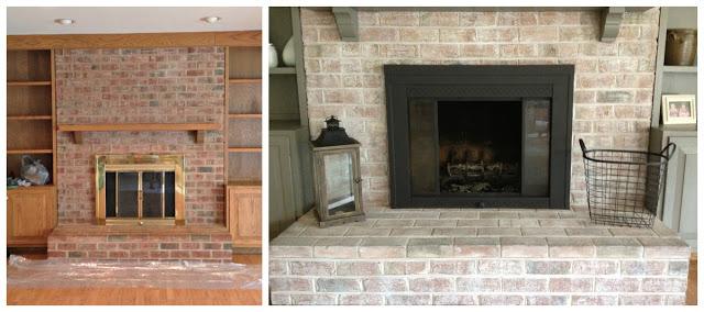Fireplace update-brass doors painted black-quinju.com