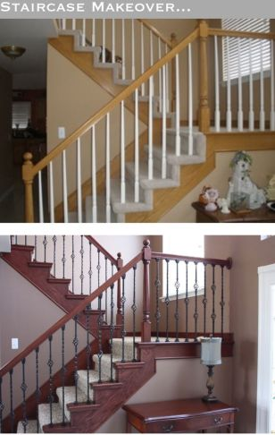Hand rail Balusters - interior stair renovation - quinju.com