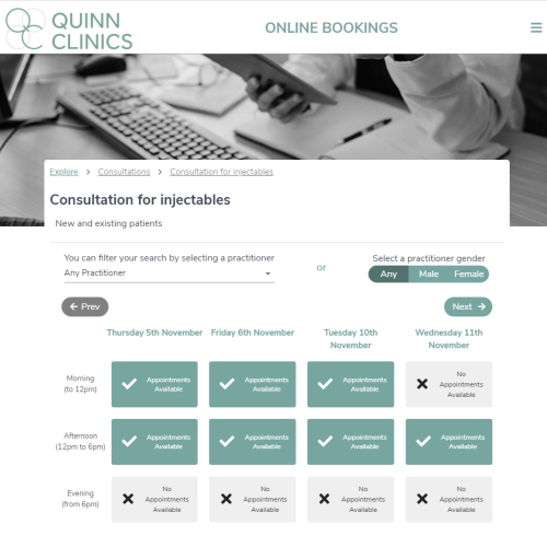 Online Booking Skin Consultations & Treatments