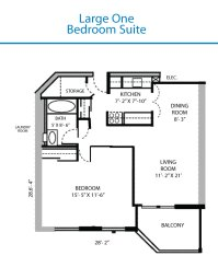 Floor Plan of the Large One Bedroom Suite | Quinte Living ...