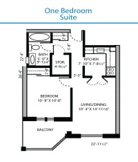 Floor Plan of the One Bedroom Suite | Quinte Living Centre
