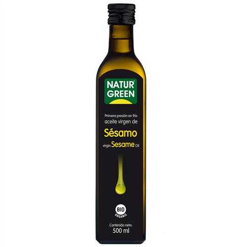 Aceite de sésamo eco. De cultivo ecológico. 250 ml. De Naturgreen. Clica para más aceites eco y bio, y cientos de productos 100% vegan.
