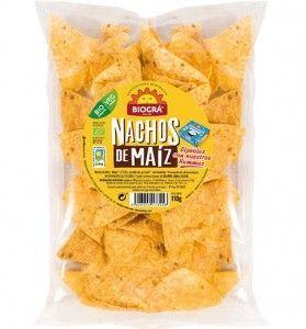 Nachos de maíz ecológico al punto de sal. Para combinar con hummus, guacamole o cualquier salsa vegana que se te ocurra