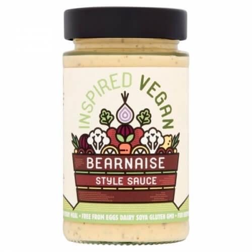 Salsa bearnesa vegana. Perfecta para aderezar platos al horno. Combina muy bien con patatas y hortalizas. 205 gramos.