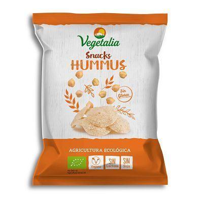 Snacks de hummus, de garbanzos con sabor a hummus al punto de sal. Sin gluten y de agricultura ecológica. Para dipear con hummus o con la salsa vegana que te de la gana. Sin gluten, sin soja, sin lactosa.