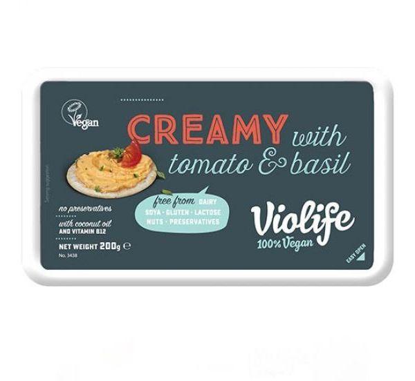Crema queso vegano tomate y albahaca Violife