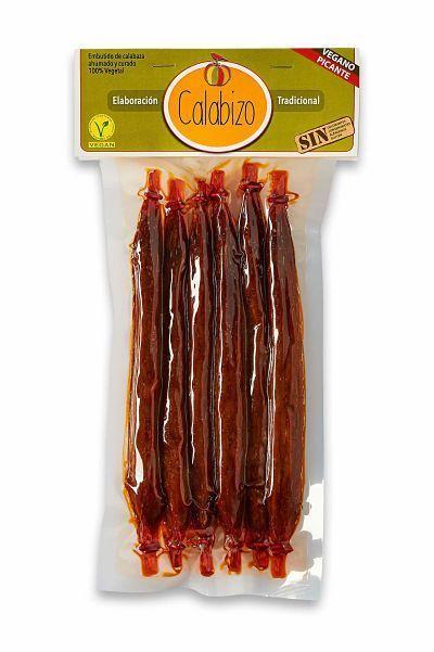 Calabizo picante 6 unidades. Chorizo vegano picante de calabaza. Elaborado en Galicia con receta tradicional, 100% vegetal. 240 gramos.