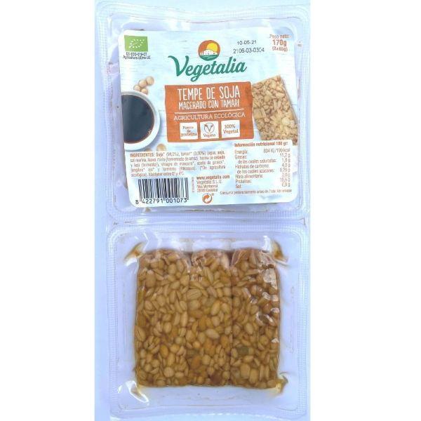 tempeh de soja macerado con tamari