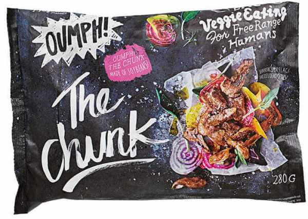 Carne de soja The Chunk Oumph 280 gramos. Preparado vegetal a base de soja, sin especiar. Para que puedas aderezarlo y especiarlo a tu gusto.