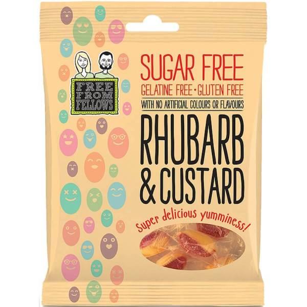 Caramelos veganos sin azúcar Free from Fellows. Los clásicos ingleses de ruibarbo y natillas (rhubarb & custard), pero sin ingredientes animales. 70 gramos.