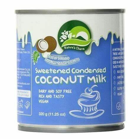 Leche condensada de coco Nature´s Charm 320 gramos. Leche de coco condensada azucarada, apta para veganos, gordiveganos, intolerantes a la lactosa, y para cualquiera que opine que la leche de vaca es para los terneros.