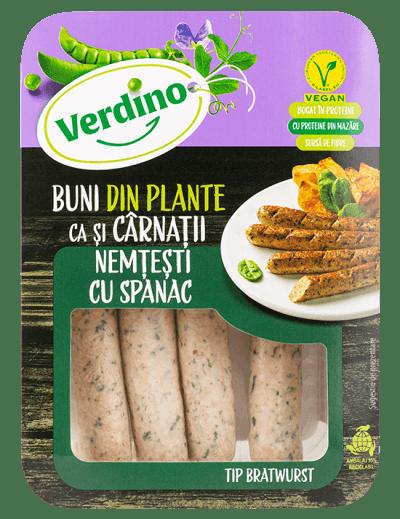 Bratwurst con espinacas vegano