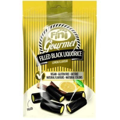 regaliz vegano negro relleno de pasta de limón