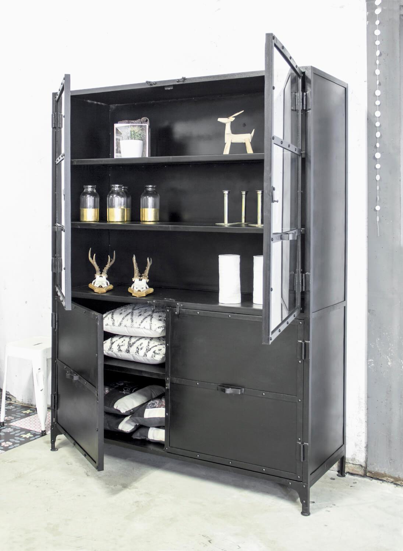 Industrile buffetkast zwart  quipCo Industrile meubelen
