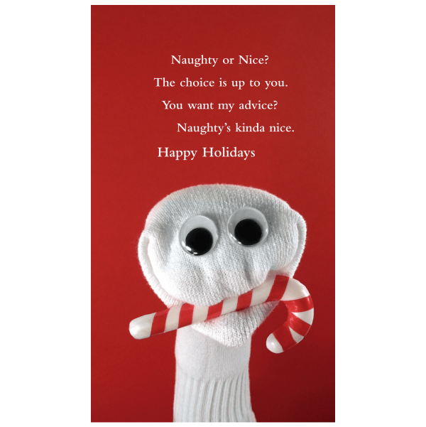 Quiplip Naughty Holiday Card Greeting Card From The Sock