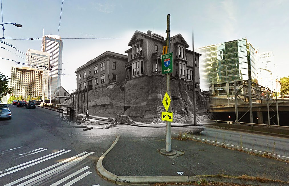 """""""A before and after [of the regrade] at 6th and Marion with buildings from 1914."""" (Courtesy of Clayton Kauzlaric)"""