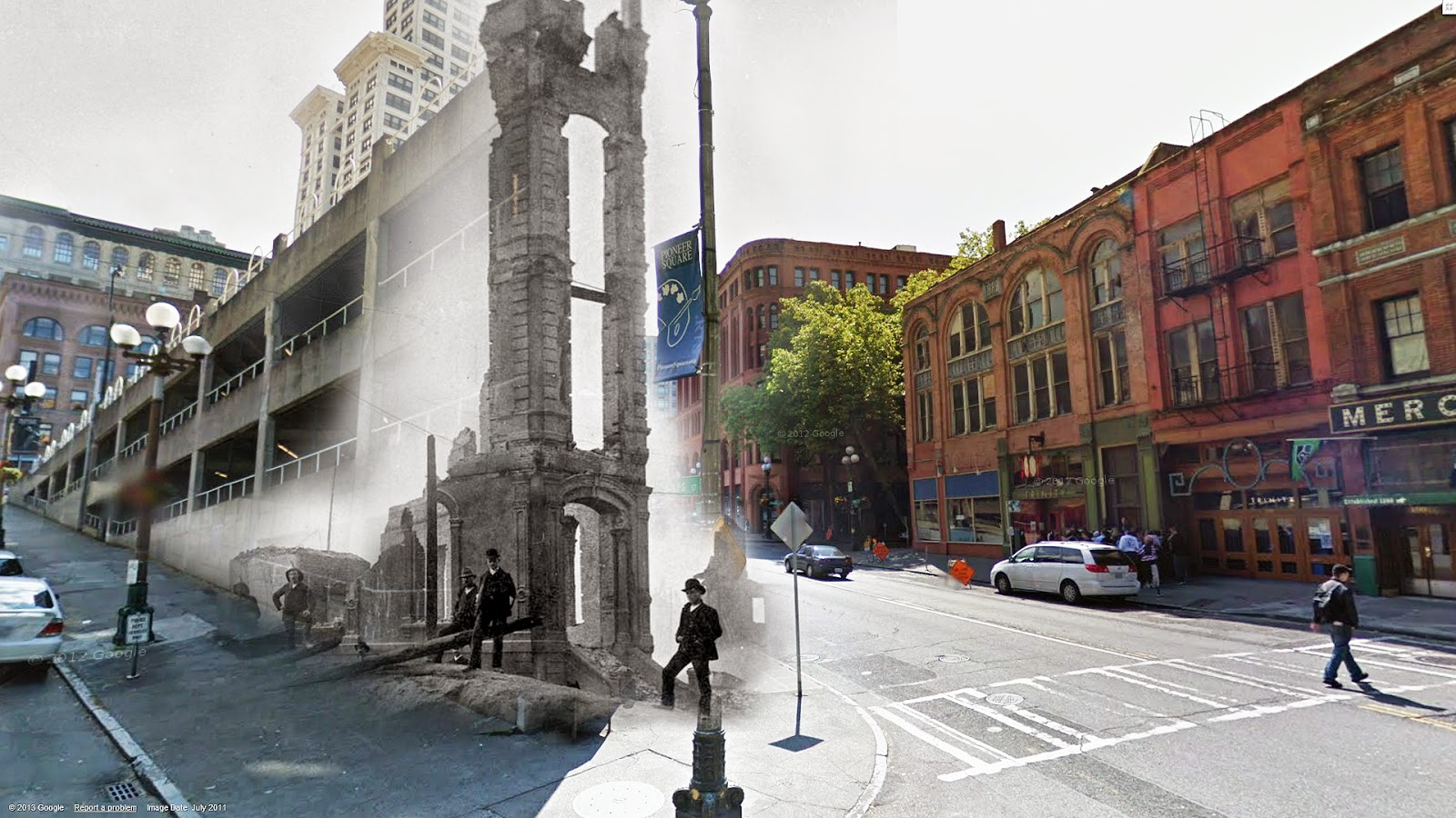 """The Occidental Hotel was a gorgeous building that stood where we find the 'sinking ship' parking garage today near Pioneer Square. The older photo dates from the mid 1880's. The Occidental only stood for only seven years. It was one of the many casualties of the Great Fire of 1889. The sad remnants of the façade and entryway line up pretty well with the parking garage here."" (Courtesy of Clayton Kauzlaric)"