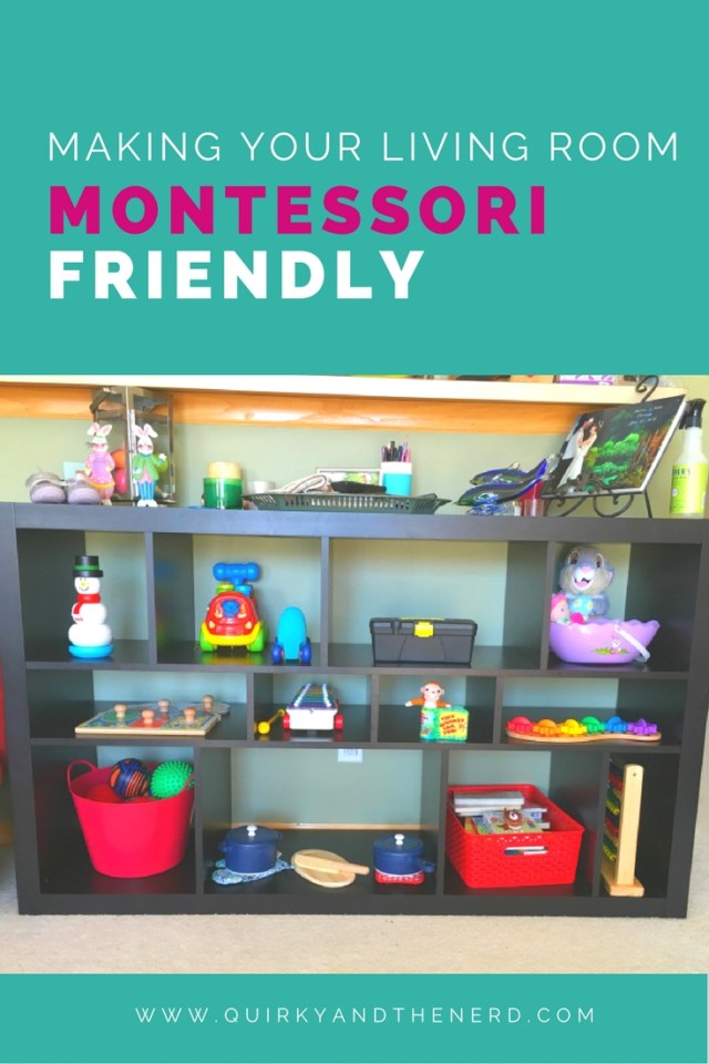 My family lives in a small townhouse. When my daughter got old enough, I wanted her to have a Montessori at home area. but we didn't have a spare room. So I made my living room Montessori-friendly. Read how I did it at quirkyandthenerd.com