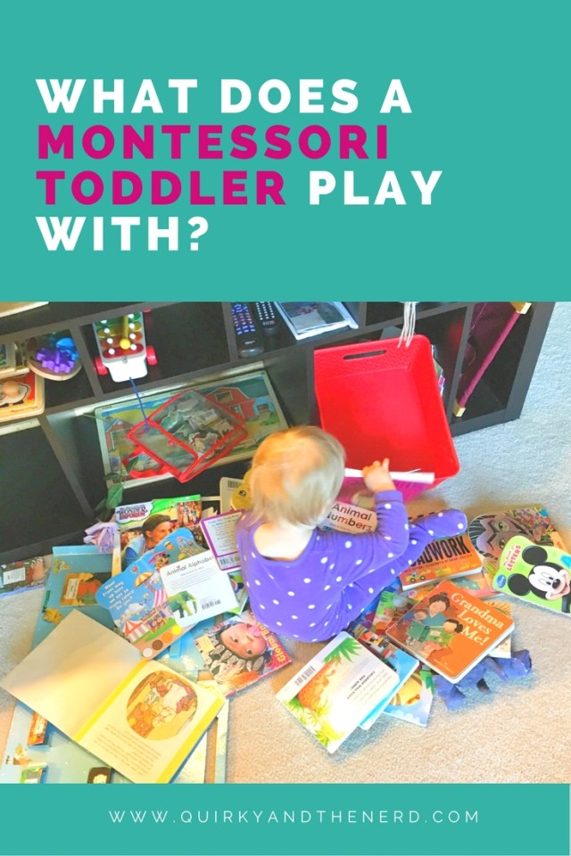 My 15 month old Montessori toddler uses many kinds of toys. To learn about the Montessori toys she uses, read about them and how I rotate her toys at quirkyandthenerd.com